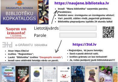 """Naujenes tautas bibliotēka aicina lasīt e-grāmatas """"3td E-grāmatu bibliotēkā"""""""
